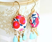 Colorful Chandelier Earrings, Liberty of London, Pale Blue Glass Chandelier Earrings