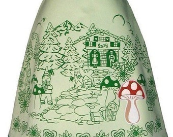 schwarzwalder skirt - green - cute gnomes & deer frolic in the forest among the toadstools