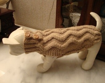 dog pet  winter sweater - hand knitted -  made to measure for a perfect fit  - other colors are possible