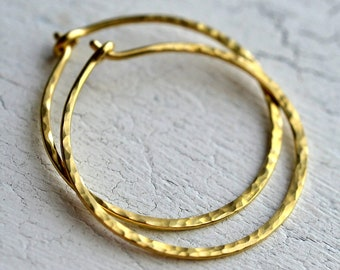 Gold Hoops - Solid 18k Yellow Gold Hammered Hoop Earrings - Your Choice of Size - Made to Order - Gold Hammered Hoops