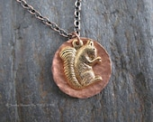 Gold Plated Brass Squirrel on Hand Textured Copper Disc Necklace