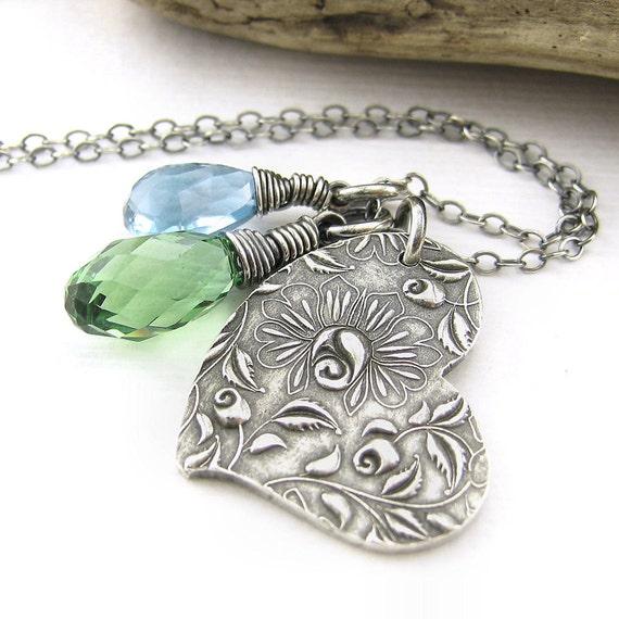 Heart Charm Necklace Rose London Blue Topaz Erinite Green Swarovski Pendant Fashion Jewelry - Duets No. 93
