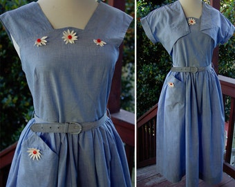 DAISY 1940's 50's Vintage KATE GREENWAY Light Blue Cotton Dress with Matching Bolero Jacket and Belt