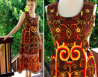 Bohemian SUMMER 1960's 70's Vintage Ornate Brown and Golden Orange Yellow MAXI Dress size Small