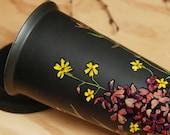 ready to ship - Black Ceramic Eco-Friendly Travel Mug - Wild Flowers - Limited Edition