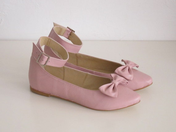 Pink leather ankle strap flat pointy shoe with bow
