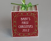 Baby's First Christmas Wooden Block Ornament Christmas Memories