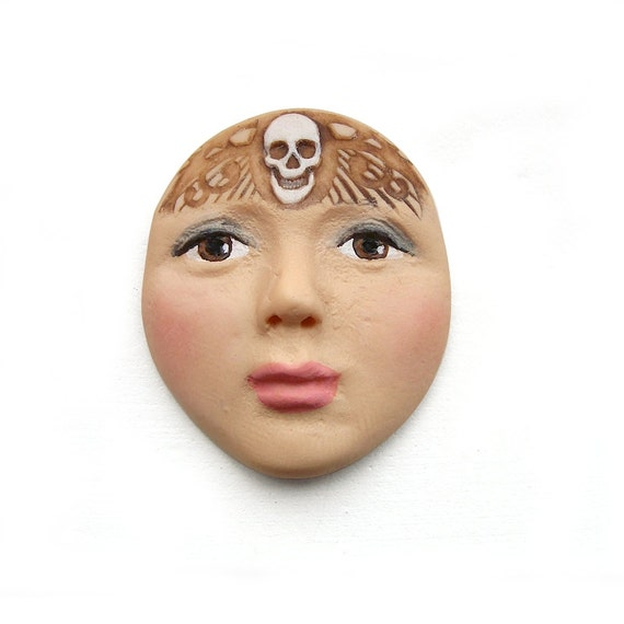 Day of the Dead Skull Lady Face Dia De Los Muertos Art Doll Cab Polymer Clay Cabochon Brown Eyes Halloween Skeleton 2701