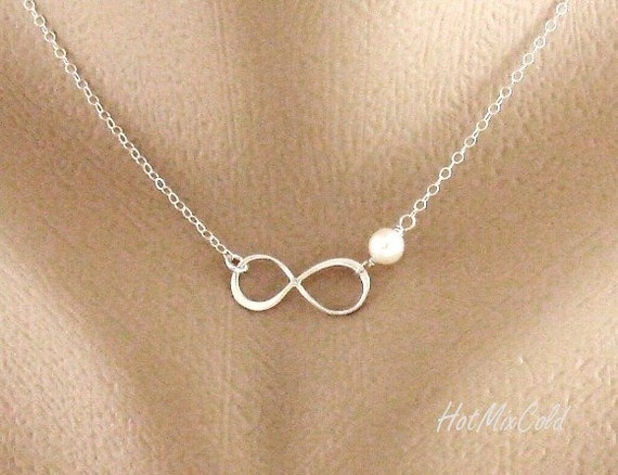 Silver or Gold or Rose Gold Infinity Charm Necklace and Tiny Birthstone, Small Infinity Pendant Jewelry, Bridesmaid Gifts, Everyday Jewelry