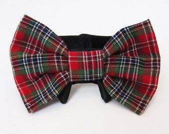 Dog Bow Tie Christmas Plaid with Black Satin Collar