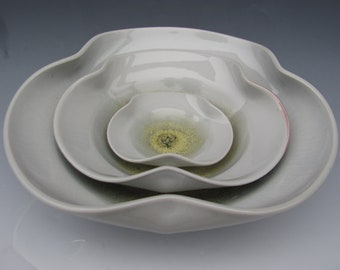 Nesting Bowl Set- Made to Order - Sunflower Yellow and Cracky White
