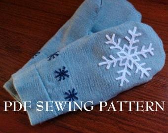 PDF Sewing Pattern: Snowflake Sweater Mittens