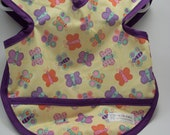 RESERVED : Purple Butterfly Bib with Pocket