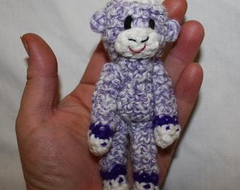 Tiny Sock Monkey - purple with dark purple bands