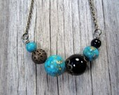 Gemstone Necklace, Black Teal Jewelry, Eclectic Modern Necklace with Turquoise, Black Stone, Bronze Chain, mosaic globe gift 50 and under