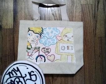 Bicyclist Mini Tote Bag- By: My Art is Indie