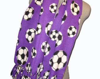 Soccer Fleece Scarf , Sport Muffler, Unisex Bufanda - Plum/Dark Purple