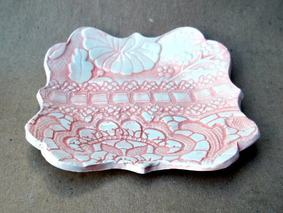 Coral Damask Trinket Bowl