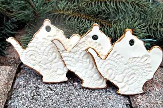 THREE Ceramic Teapot Christmas Ornaments