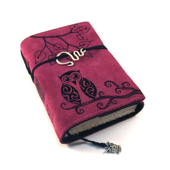 Handmade leather journal,  Suede, Owl