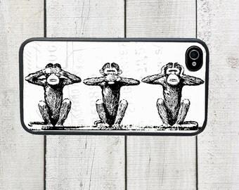 See No Evil Hear No Evil Speak No Evil Monkey Phone Case for  iPhone 4 4s 5 5s 5c SE 6 6s 7  6 6s 7 Plus Galaxy s4 s5 s6 s7 Edge