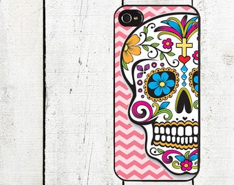 iphone 6 case Day of the Dead iPhone Case - Pink Chevron Sugar Skull iPhone Case - iPhone 4, 4s - iPhone 5 Case