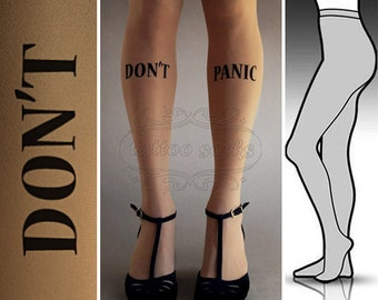 L/XL Don't Panic tattoo tights / stockings / full length / pantyhose / nylons Cafe Latte