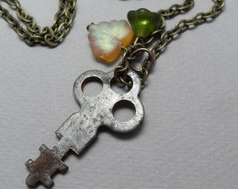 Antique Skeleton Key Green Flower and Amber Leaf Necklace