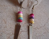 Steel Point Drop Rainbow Earrings