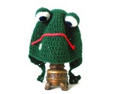 Happy or Sad Crochet Frog Hat - Cartoon 3-D Animal Hat in Grass Green with Eyes for Boys and Girls - Silly and Chunky Crochet Hat