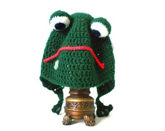 Crochet Frog Hat - adjustable animal hat with happy or sad mouth - animal hats for boys - animal hats for girls