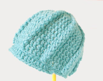 Crochet Newsboy Cap in Country Blue-Green - Soft Crochet Hat for Baby / Toddler / Boy / Girl / Man / Woman