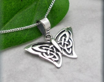 Butterfly Necklace Sterling Silver Celtic Necklace Knot Pendant Papillon Everyday Irish Jewelry (SN709)