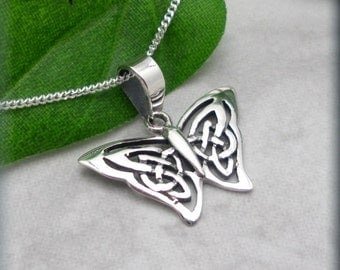 Butterfly Necklace, Sterling Silver, Celtic Necklace, Papillon Necklace,  Everyday Jewelry, Irish Jewelry, Graduation Gift