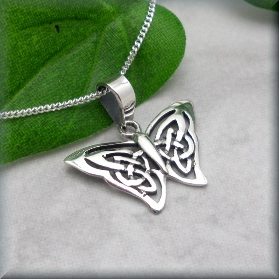 Butterfly necklace sterling silver celtic necklace papillon like this item mozeypictures Images