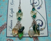 Yellow and Green Swarovski Butterfly and Czech Glass leaves dangly earrings