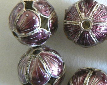 SALE 6 15mm Handmade Cloisonne Beads Ball Round Large Hole Light Weight Purple  b2825