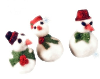 Needle Felting Kit, snowman, snow woman, ornament kit, craft kit, DIY, pdf tutorial, red, white, green, holiday  Christmas tree ornament
