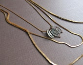 Brass Necklace Triple Strand 1970s Snake Chain Patina Leaf Charms Featured on FAB.COM Leaf Necklace Layered Necklace by Glamourpuss