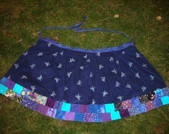 Sale! -  Blue corduroy embroidered purple butterflies patchwork wrap skirt