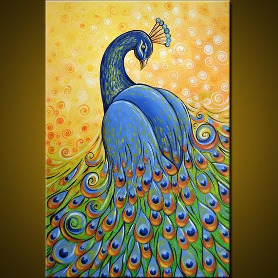 Original Large Abstract Painting Modern Peacock Bird 24 X