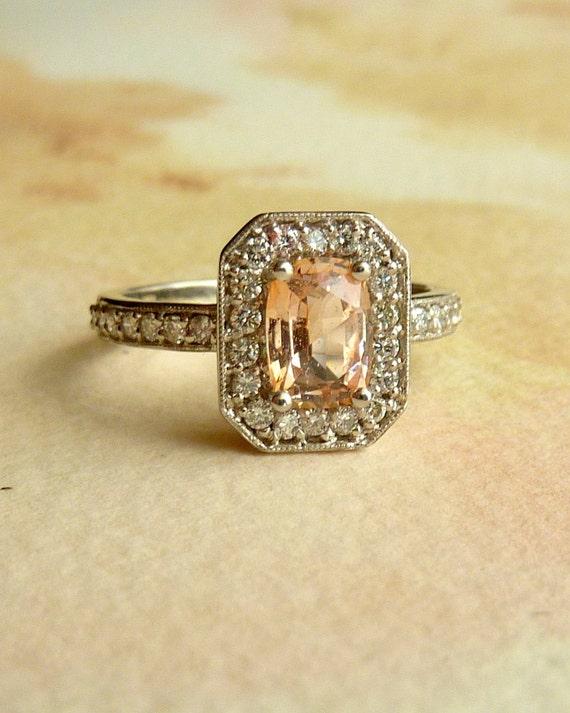 Paparadascha Sapphire and Diamond Halo Ring