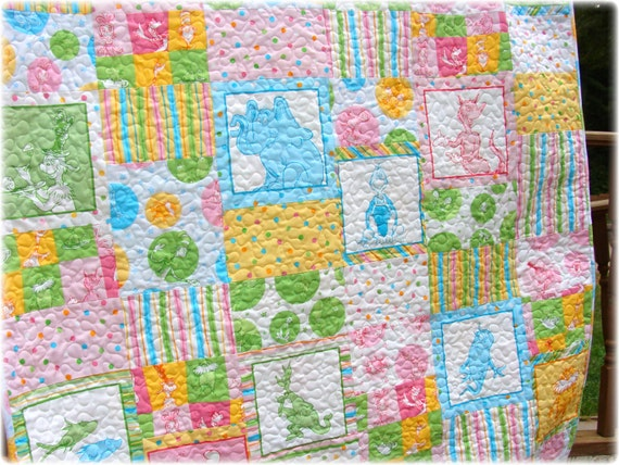 Baby Girl Quilt Dr Seuss Rainbow colorway