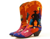 80s Patchwork Cowboy Boots / Novelty Southwest Sunset / Women's sz 11