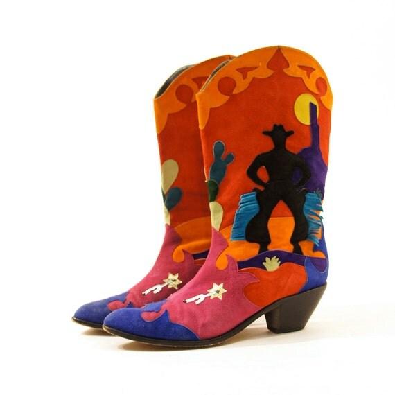 80s Patchwork Cowboy Boots / Novelty Southwest Sunset / Women's sz 11