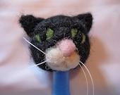 OOAK needle felted black cat pen topper