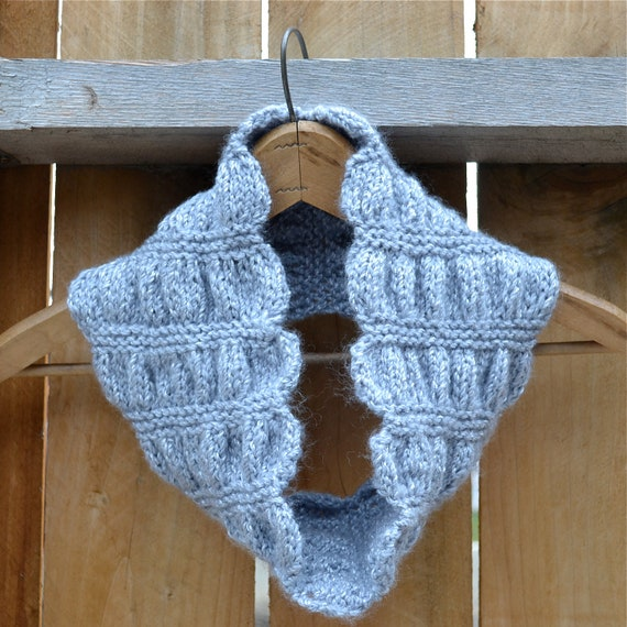 Ruched Cowl Knitting Pattern : Items similar to Silvery Gray, Ruched Knit Cowl on Etsy