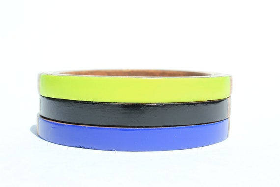 Karen O. Skinny Bangle Set/ Wood Bracelet Trio/Stacking Bangles/ Painted Neon Colors/ Band of Color/ xs-xl