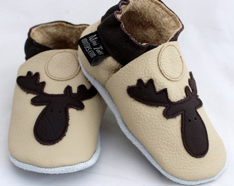 Mini Toes soft sole leather BABY shoes cream Moose pick your size