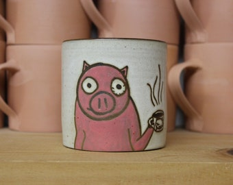 Stoneware Coffee Mug with Hyper-Ceffeinated Pig.